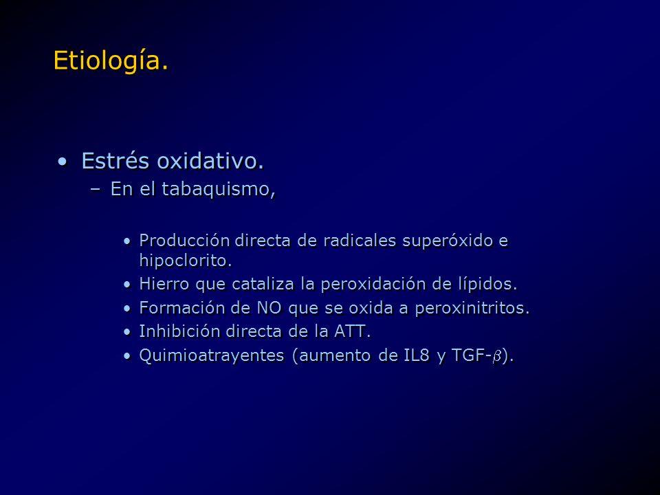 Etiología. Estrés oxidativo. –En el tabaquismo, Producción directa de radicales superóxido e hipoclorito. Hierro que cataliza la peroxidación de lípid