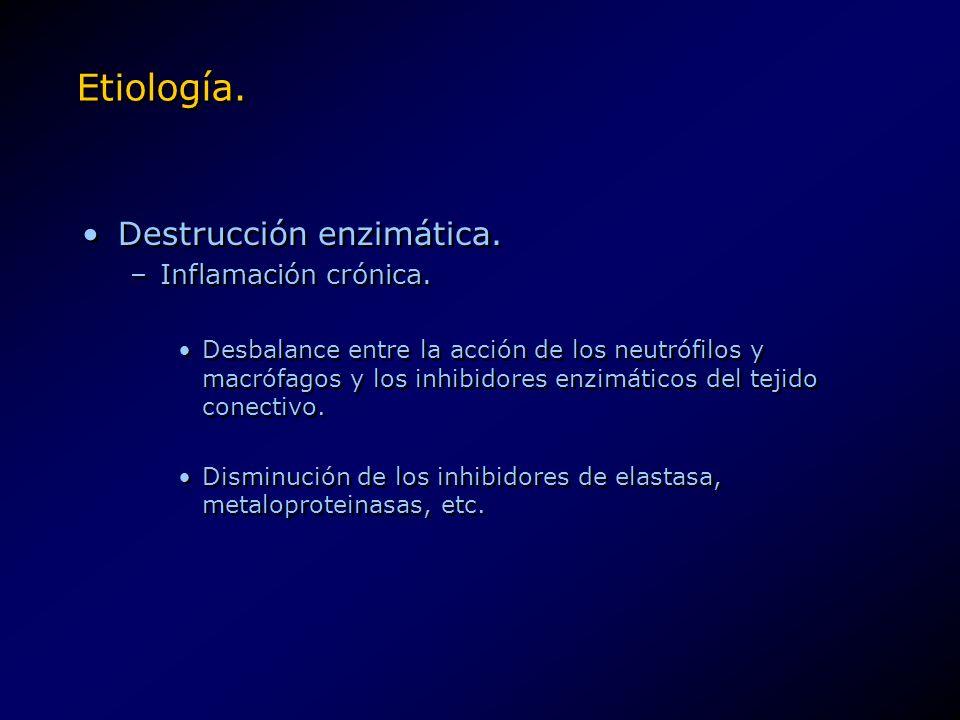 Etiología. Destrucción enzimática. –Inflamación crónica. Desbalance entre la acción de los neutrófilos y macrófagos y los inhibidores enzimáticos del