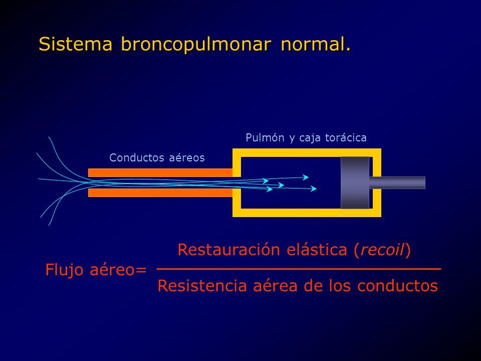 Sistema broncopulmonar normal. Conductos aéreos Pulmón y caja torácica Flujo aéreo= Restauración elástica (recoil) Resistencia aérea de los conductos