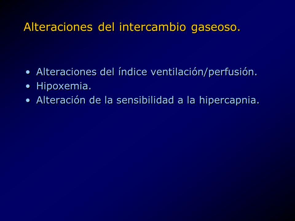 Alteraciones del intercambio gaseoso. Alteraciones del índice ventilación/perfusión. Hipoxemia. Alteración de la sensibilidad a la hipercapnia. Altera