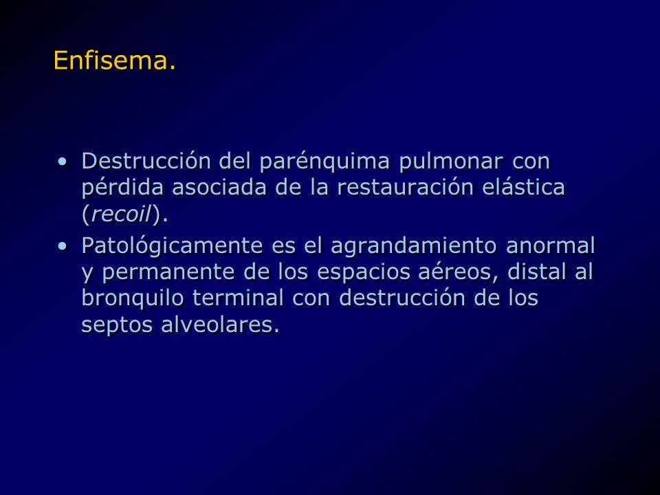 Enfisema. Destrucción del parénquima pulmonar con pérdida asociada de la restauración elástica (recoil). Patológicamente es el agrandamiento anormal y