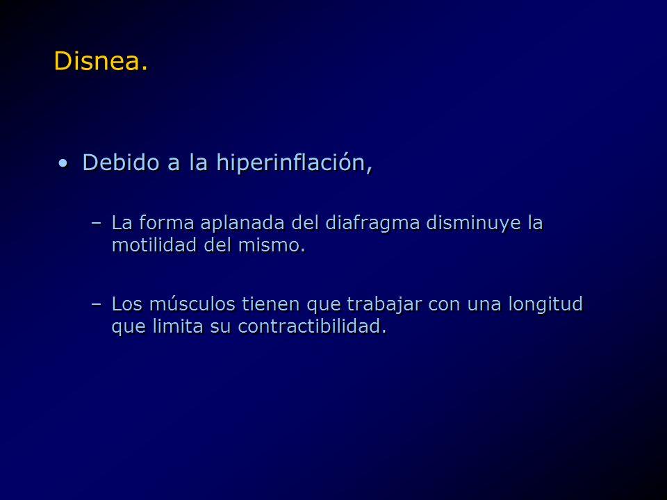Disnea. Debido a la hiperinflación, –La forma aplanada del diafragma disminuye la motilidad del mismo. –Los músculos tienen que trabajar con una longi