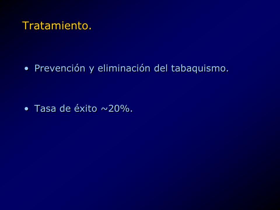 Tratamiento. Prevención y eliminación del tabaquismo. Tasa de éxito ~20%. Prevención y eliminación del tabaquismo. Tasa de éxito ~20%.