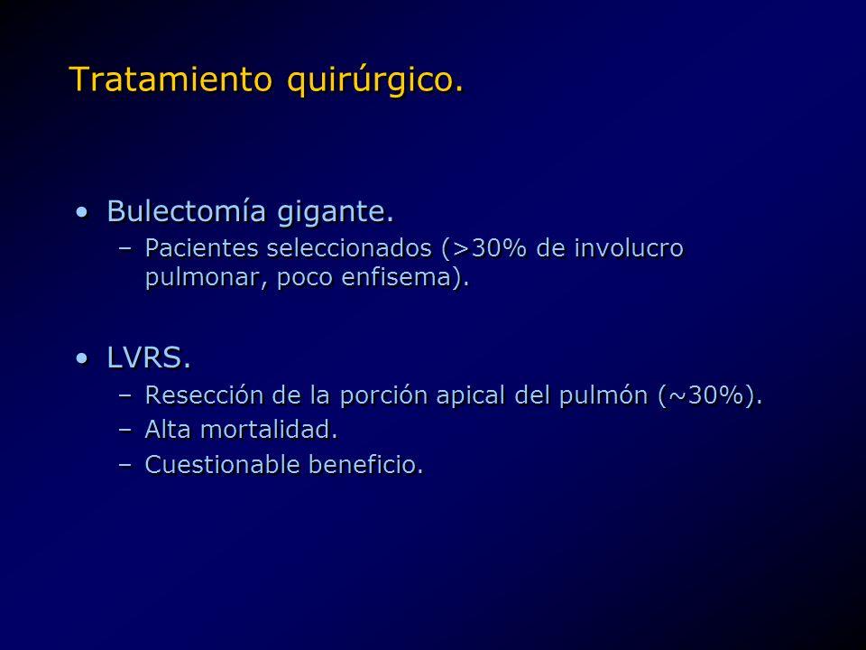 Tratamiento quirúrgico. Bulectomía gigante. –Pacientes seleccionados (>30% de involucro pulmonar, poco enfisema). LVRS. –Resección de la porción apica