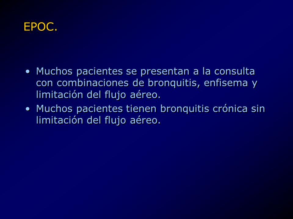 EPOC. Muchos pacientes se presentan a la consulta con combinaciones de bronquitis, enfisema y limitación del flujo aéreo. Muchos pacientes tienen bron