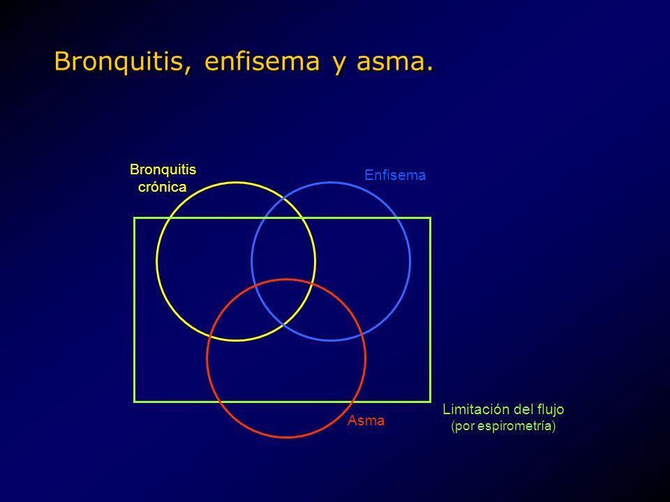 Bronquitis, enfisema y asma. Enfisema Bronquitis crónica Asma Limitación del flujo (por espirometría)