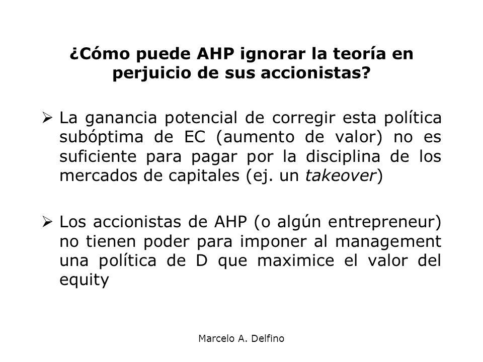 Marcelo A. Delfino ¿Cómo puede AHP ignorar la teoría en perjuicio de sus accionistas? La ganancia potencial de corregir esta política subóptima de EC
