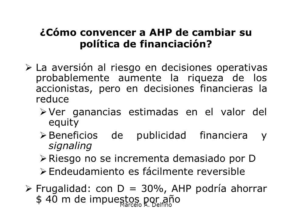 Marcelo A. Delfino ¿Cómo convencer a AHP de cambiar su política de financiación? La aversión al riesgo en decisiones operativas probablemente aumente