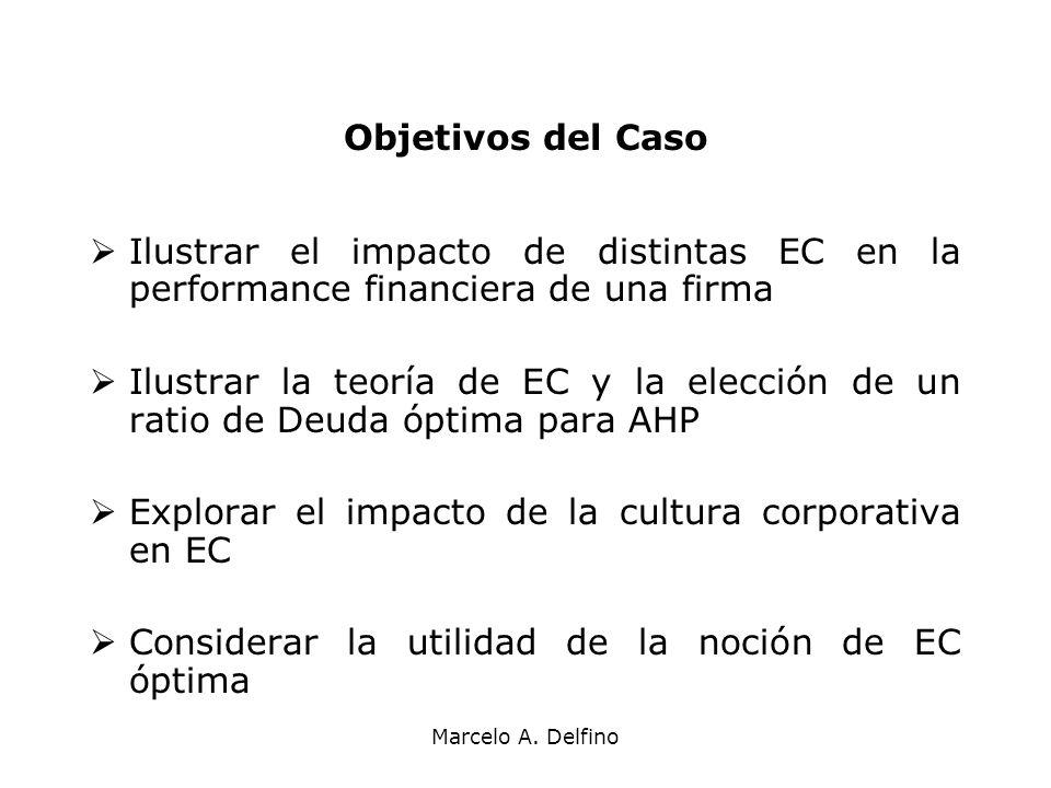 Marcelo A. Delfino Objetivos del Caso Ilustrar el impacto de distintas EC en la performance financiera de una firma Ilustrar la teoría de EC y la elec