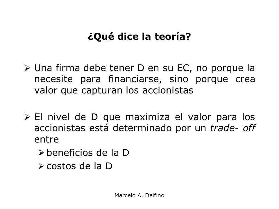 Marcelo A. Delfino ¿Qué dice la teoría? Una firma debe tener D en su EC, no porque la necesite para financiarse, sino porque crea valor que capturan l