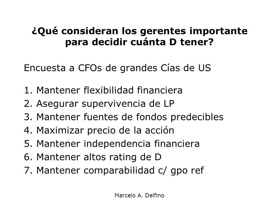 Marcelo A. Delfino ¿Qué consideran los gerentes importante para decidir cuánta D tener? Encuesta a CFOs de grandes Cías de US 1. Mantener flexibilidad