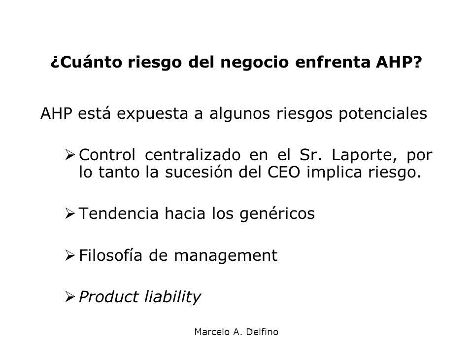 Marcelo A. Delfino ¿Cuánto riesgo del negocio enfrenta AHP? AHP está expuesta a algunos riesgos potenciales Control centralizado en el Sr. Laporte, po