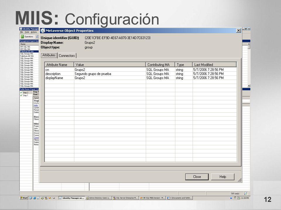 12 MIIS: Configuración