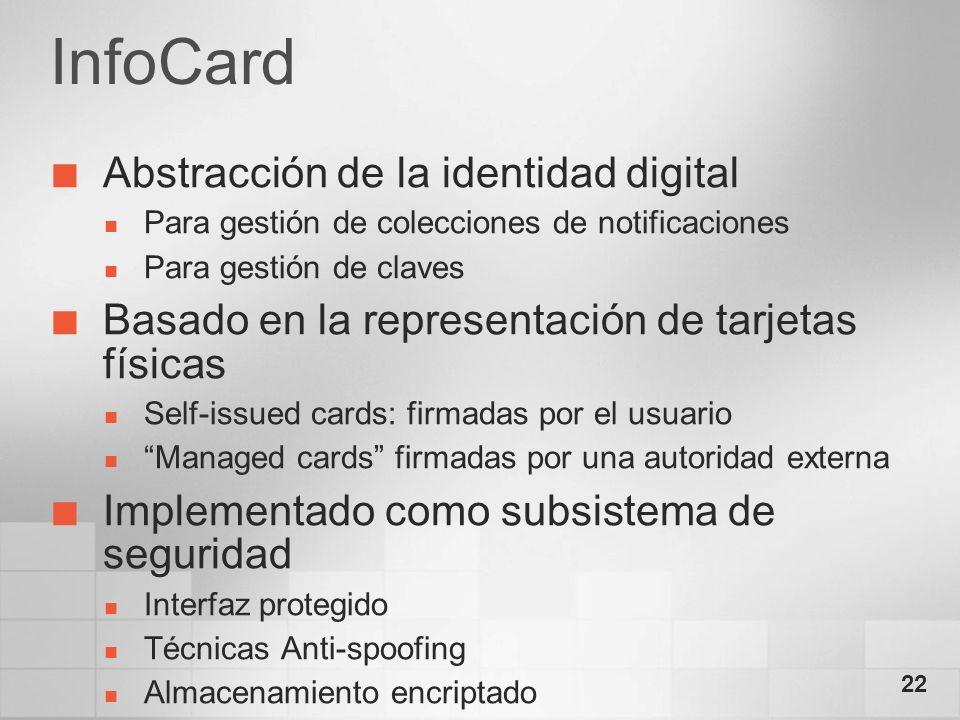 22 InfoCard Abstracción de la identidad digital Para gestión de colecciones de notificaciones Para gestión de claves Basado en la representación de ta