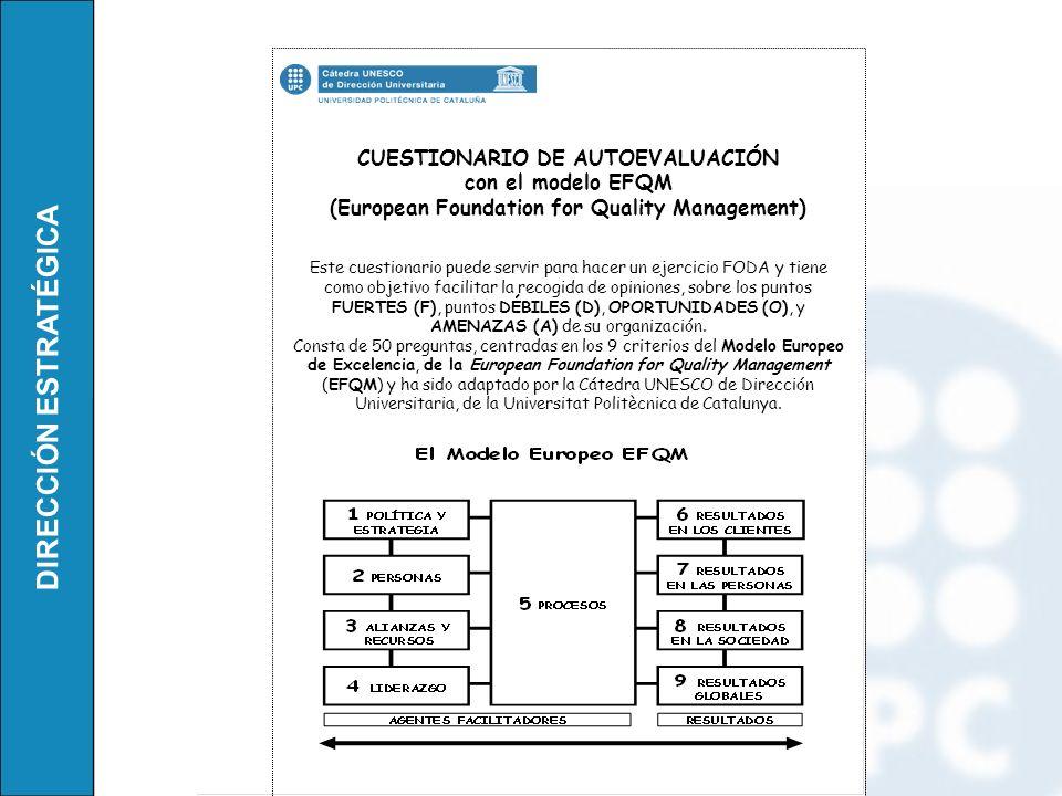 DIRECCIÓN ESTRATÉGICA CUESTIONARIO DE AUTOEVALUACIÓN con el modelo EFQM (European Foundation for Quality Management) Este cuestionario puede servir pa
