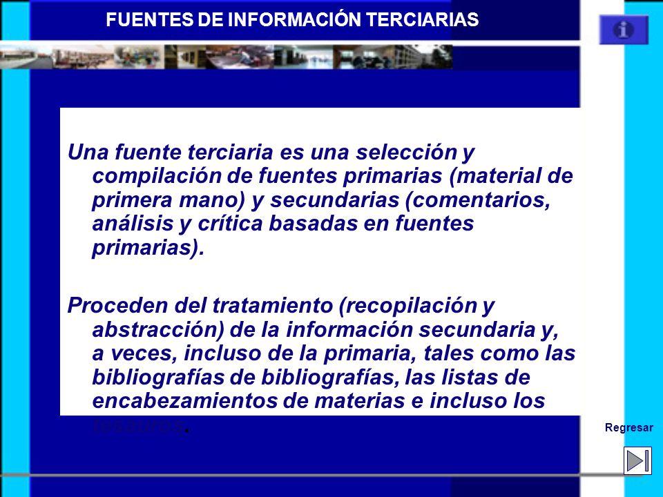 Siguiente Anterior TERCIARIAS Repertorio de Fuentes primarias y secundarias Contienen información original estructurada –Bibliografías de Bibliografía