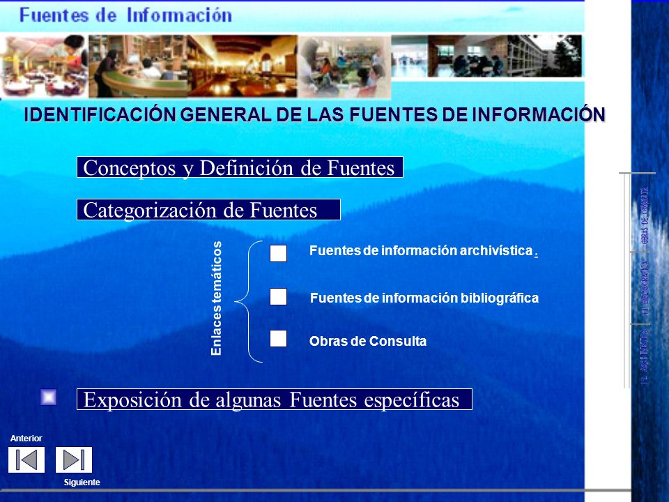 Fuentes de información geográfica ( Mapas, planos, guías de turismo y Atlas ) Fuentes documentales Fuentes para el estudio de la población. Fuentes pa
