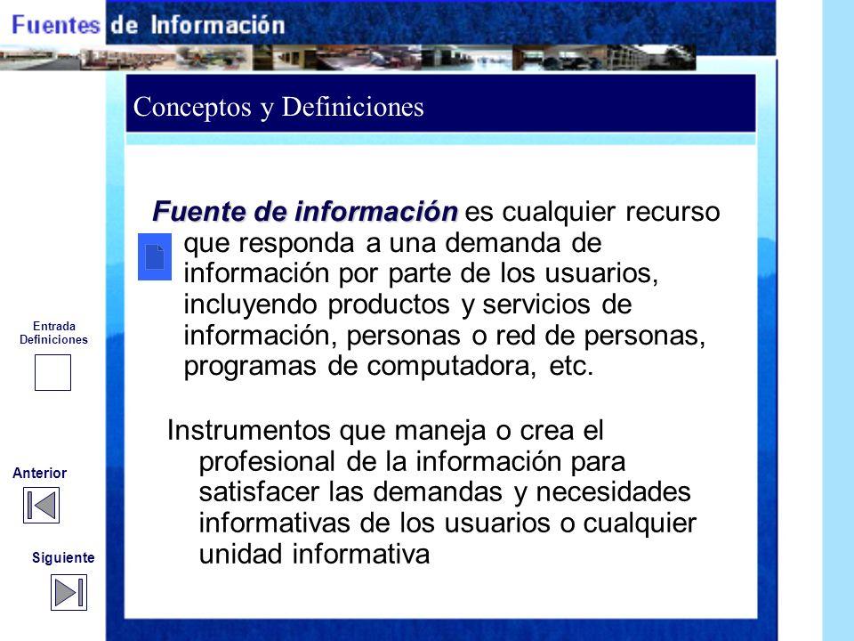 Conceptos y Definiciones Siguiente Anterior Se consideran fuentes de información: Materiales o productos Originales o elaborados Aportan noticias o te