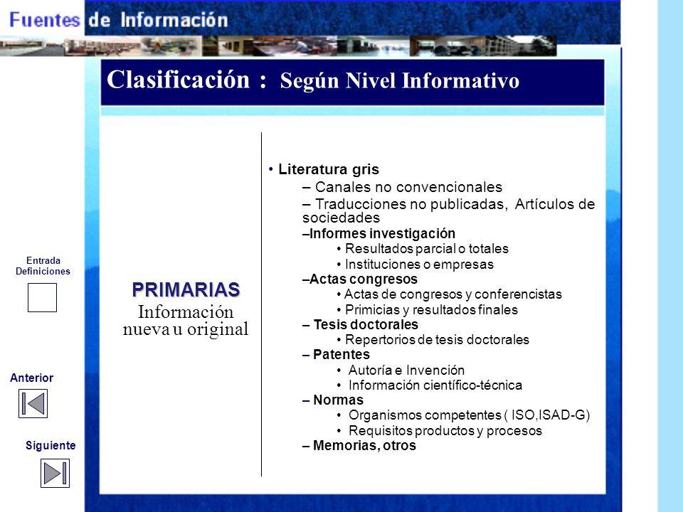 Clasificación : Según Nivel Informativo Siguiente Anterior PRIMARIAS Información nueva u original Documentos archivísticos – Producidos por el sector