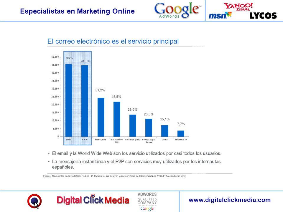 Especialistas en Marketing Online www.digitalclickmedia.com :: Consiga clientes con eficacia Contacto de alta calidad: El anunciante alcanza al contacto cualificado justo en el momento en que este busca los productos y servicios.