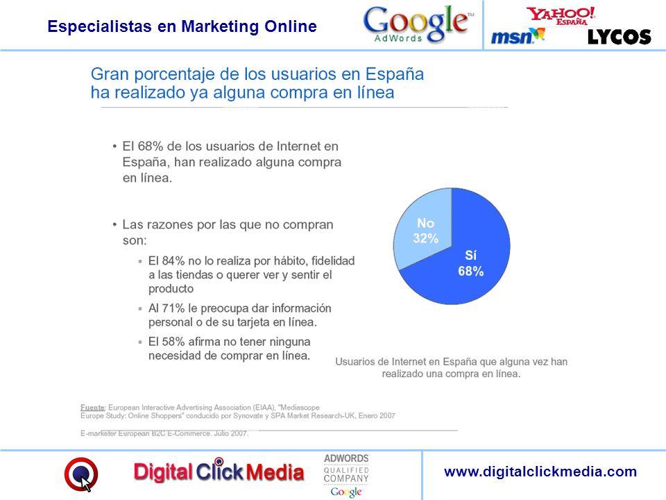 Especialistas en Marketing Online www.digitalclickmedia.com El 73% de los usuarios toma decisiones de compra de productos o servicios orientado, motivado o informado por la Web.
