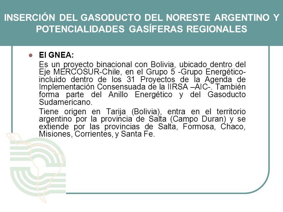 INSERCIÓN DEL GASODUCTO DEL NORESTE ARGENTINO Y POTENCIALIDADES GASÍFERAS REGIONALES El GNEA: Es un proyecto binacional con Bolivia, ubicado dentro de