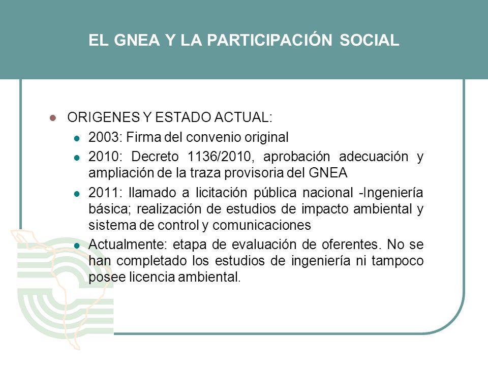 EL GNEA Y LA PARTICIPACIÓN SOCIAL ORIGENES Y ESTADO ACTUAL: 2003: Firma del convenio original 2010: Decreto 1136/2010, aprobación adecuación y ampliac