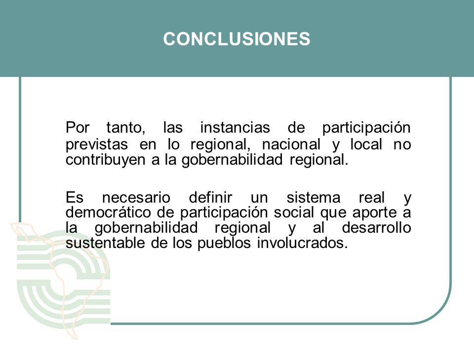 CONCLUSIONES Por tanto, las instancias de participación previstas en lo regional, nacional y local no contribuyen a la gobernabilidad regional. Es nec