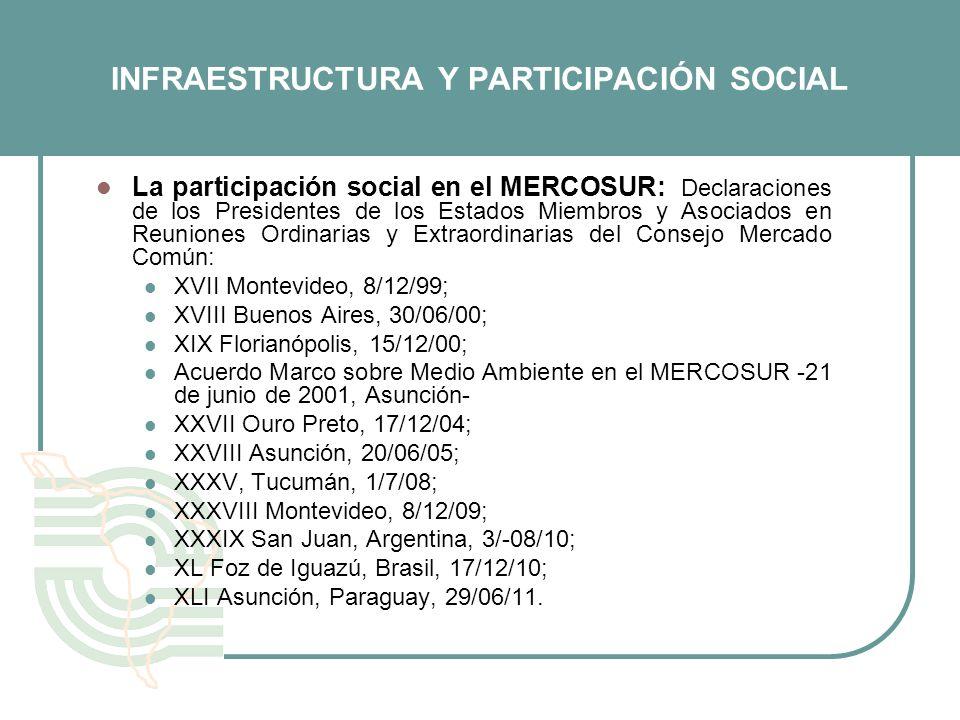 INFRAESTRUCTURA Y PARTICIPACIÓN SOCIAL La participación social en el MERCOSUR: Declaraciones de los Presidentes de los Estados Miembros y Asociados en