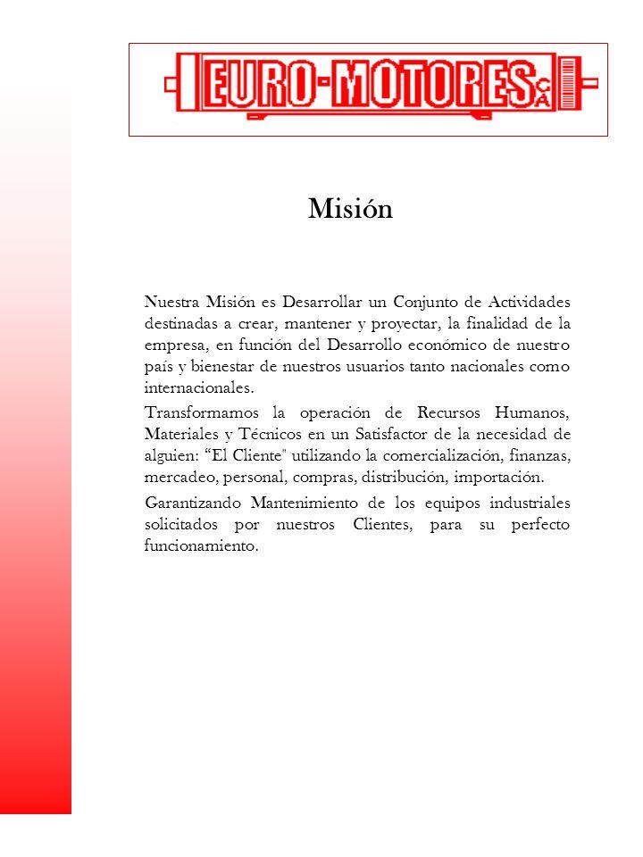 Misión Nuestra Misión es Desarrollar un Conjunto de Actividades destinadas a crear, mantener y proyectar, la finalidad de la empresa, en función del D