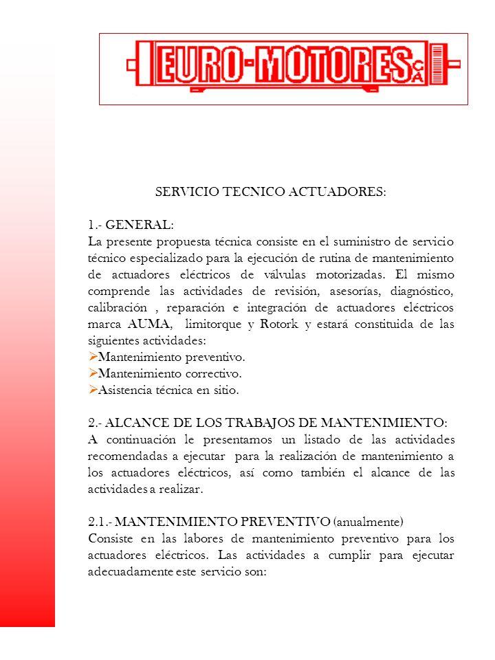 SERVICIO TECNICO ACTUADORES: 1.- GENERAL: La presente propuesta técnica consiste en el suministro de servicio técnico especializado para la ejecución