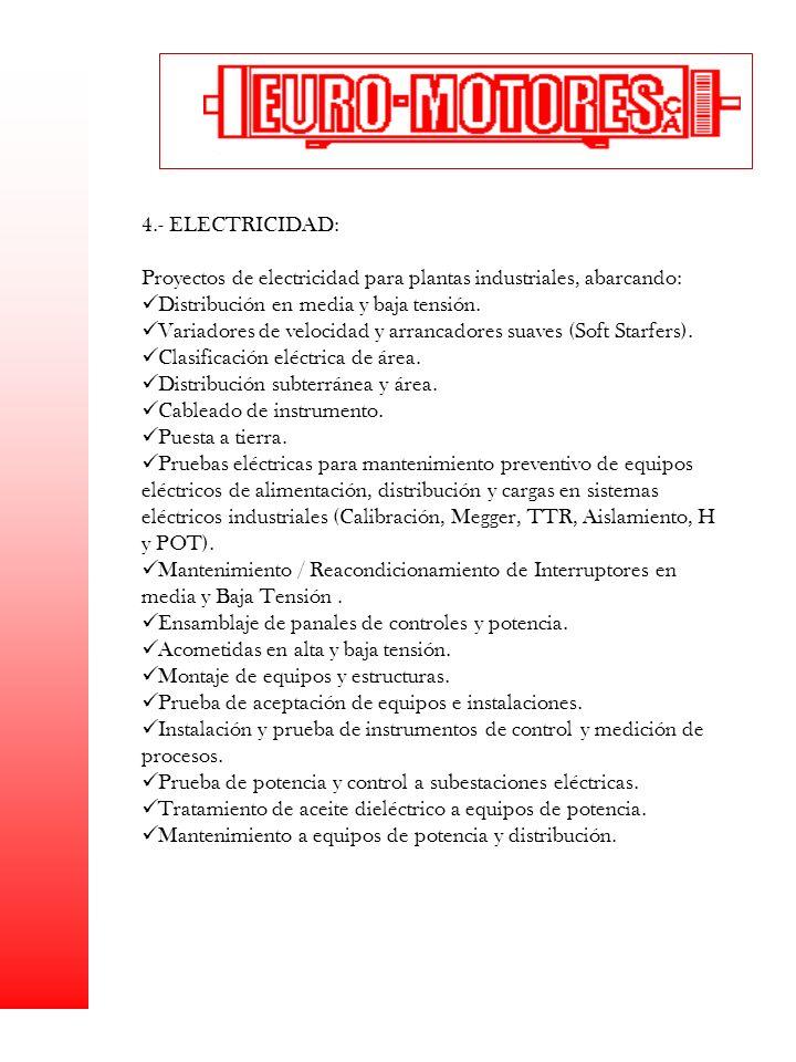 4.- ELECTRICIDAD: Proyectos de electricidad para plantas industriales, abarcando: Distribución en media y baja tensión. Variadores de velocidad y arra