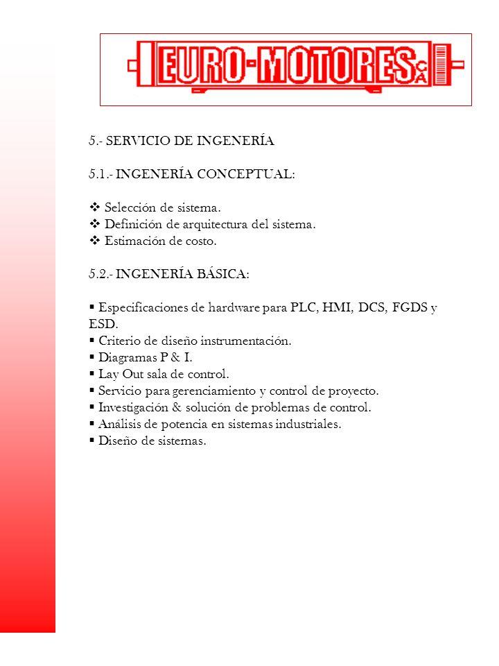 5.- SERVICIO DE INGENERÍA 5.1.- INGENERÍA CONCEPTUAL: Selección de sistema. Definición de arquitectura del sistema. Estimación de costo. 5.2.- INGENER