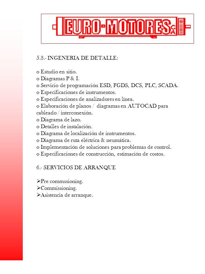 5.3.- INGENERIA DE DETALLE: o Estudio en sitio. o Diagramas P & I. o Servicio de programación ESD, FGDS, DCS, PLC, SCADA. o Especificaciones de instru