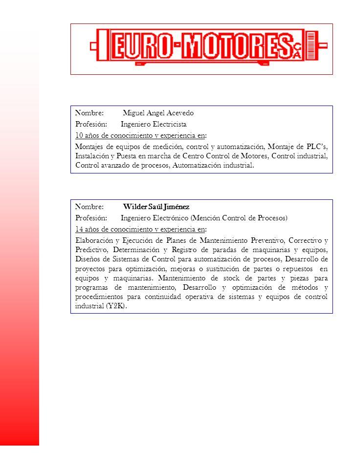 Nombre: Miguel Angel Acevedo Profesión: Ingeniero Electricista 10 años de conocimiento y experiencia en: Montajes de equipos de medición, control y au