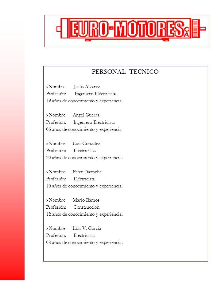 PERSONAL TECNICO Nombre: Jesús Álvarez Profesión: Ingeniero Eléctricista 12 años de conocimiento y experiencia Nombre: Angel Guerra Profesión: Ingenie