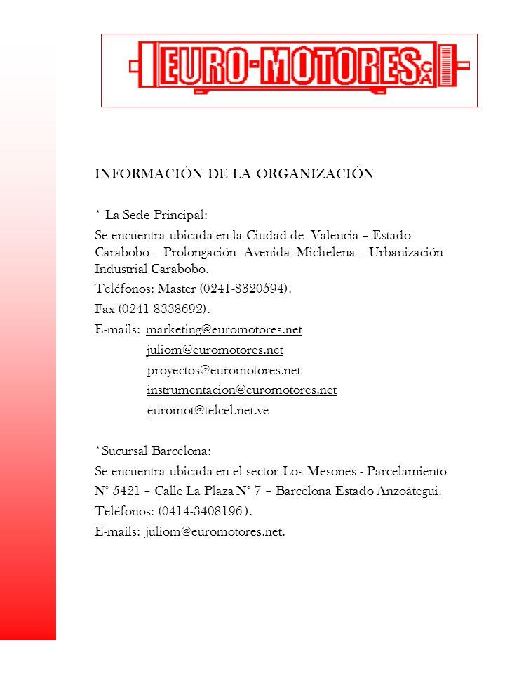 INFORMACIÓN DE LA ORGANIZACIÓN * La Sede Principal: Se encuentra ubicada en la Ciudad de Valencia – Estado Carabobo - Prolongación Avenida Michelena –