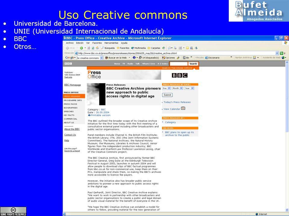 www.bufetalmeida.com 32 Uso Creative commons Universidad de Barcelona. UNIE (Universidad Internacional de Andalucía) BBC Otros…