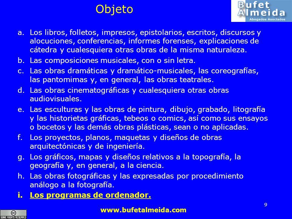 www.bufetalmeida.com 9 Objeto a.Los libros, folletos, impresos, epistolarios, escritos, discursos y alocuciones, conferencias, informes forenses, expl