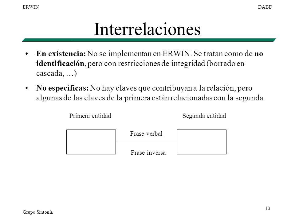 Grupo Sintonía ERWINDABD 10 Interrelaciones En existencia: No se implementan en ERWIN. Se tratan como de no identificación, pero con restricciones de