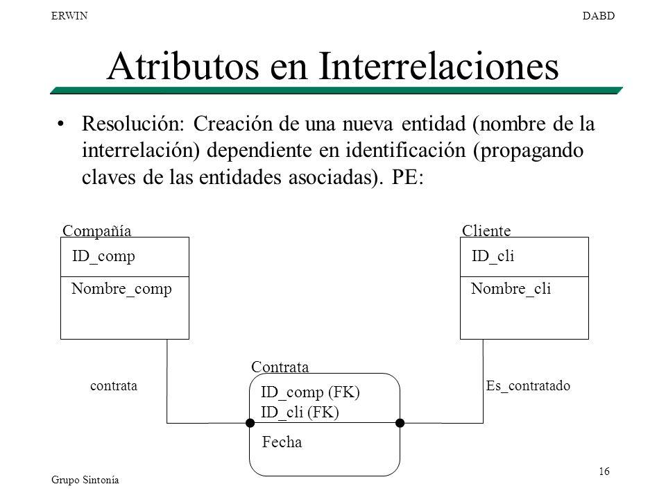 Grupo Sintonía ERWINDABD 16 Atributos en Interrelaciones Resolución: Creación de una nueva entidad (nombre de la interrelación) dependiente en identif