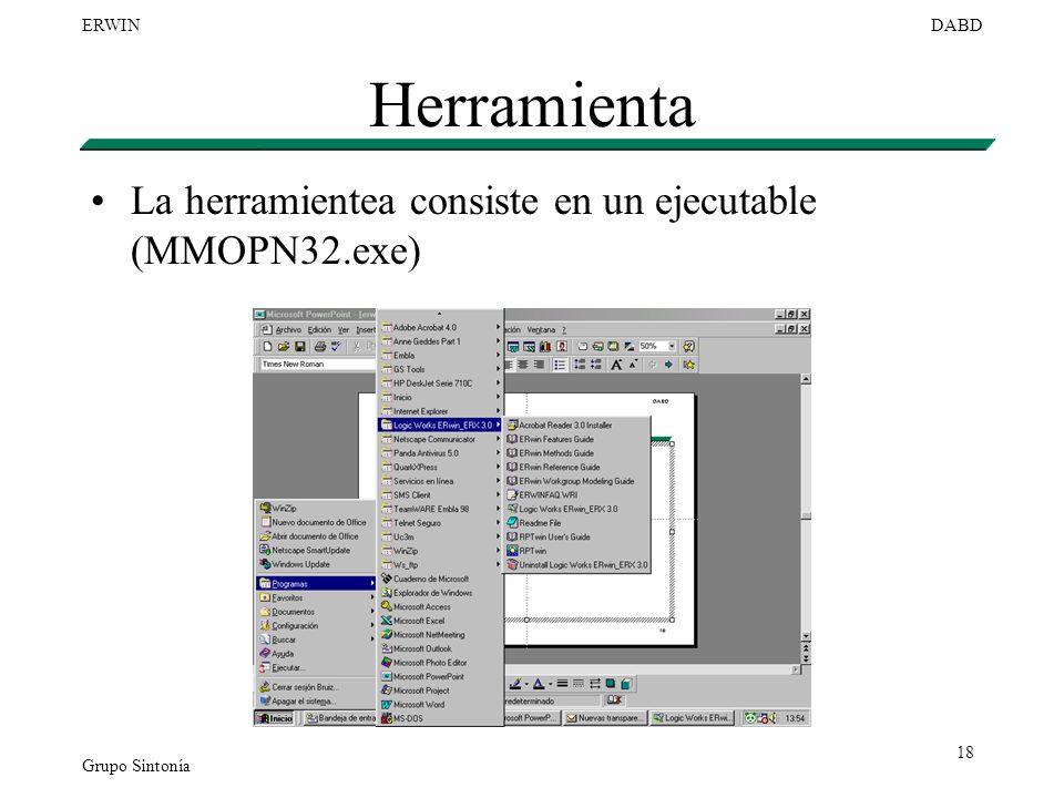 Grupo Sintonía ERWINDABD 18 Herramienta La herramientea consiste en un ejecutable (MMOPN32.exe)