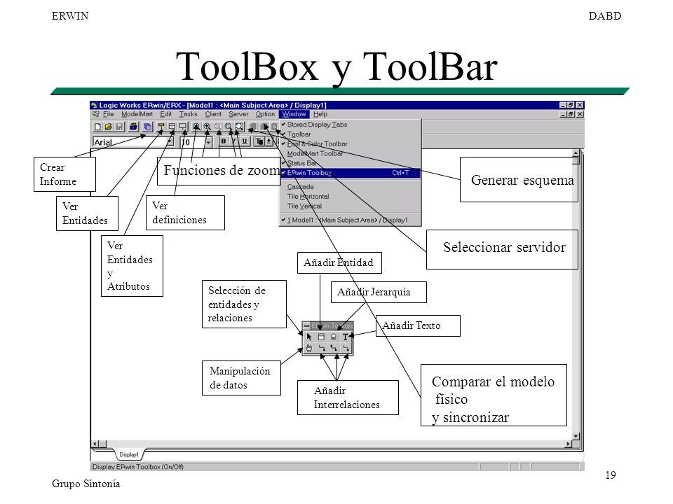 Grupo Sintonía ERWINDABD 19 ToolBox y ToolBar Selección de entidades y relaciones Manipulación de datos Añadir Interrelaciones Añadir Entidad Añadir J