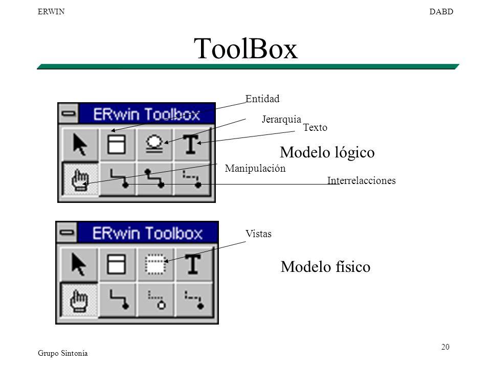 Grupo Sintonía ERWINDABD 20 ToolBox Modelo lógico Modelo físico Entidad Jerarquia Texto Manipulación Interrelacciones Vistas
