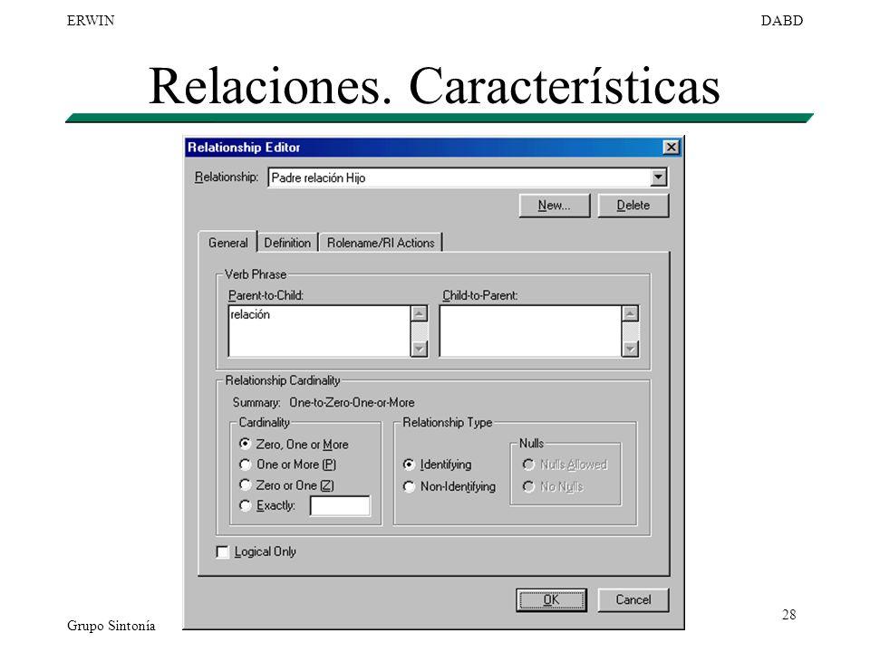 Grupo Sintonía ERWINDABD 28 Relaciones. Características