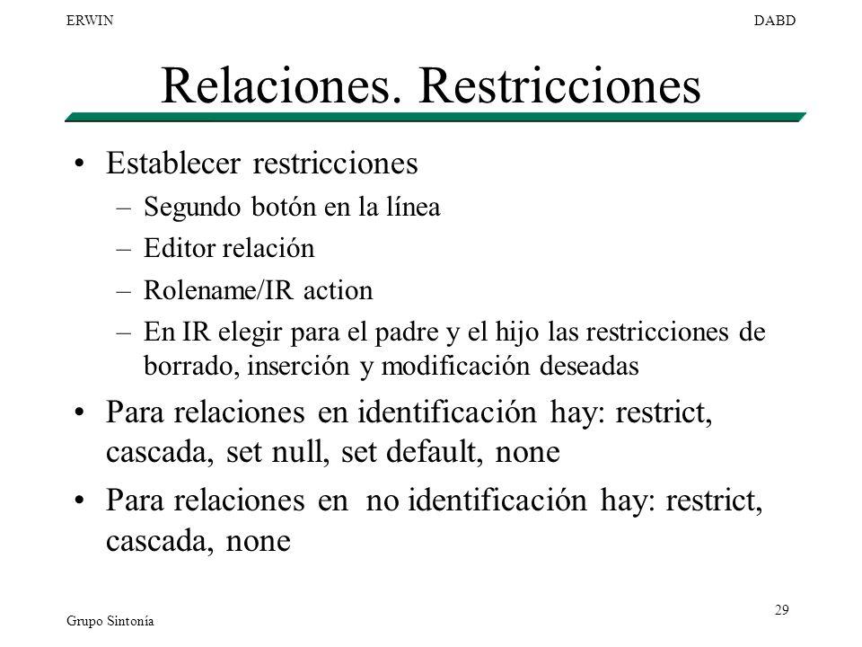 Grupo Sintonía ERWINDABD 29 Relaciones. Restricciones Establecer restricciones –Segundo botón en la línea –Editor relación –Rolename/IR action –En IR