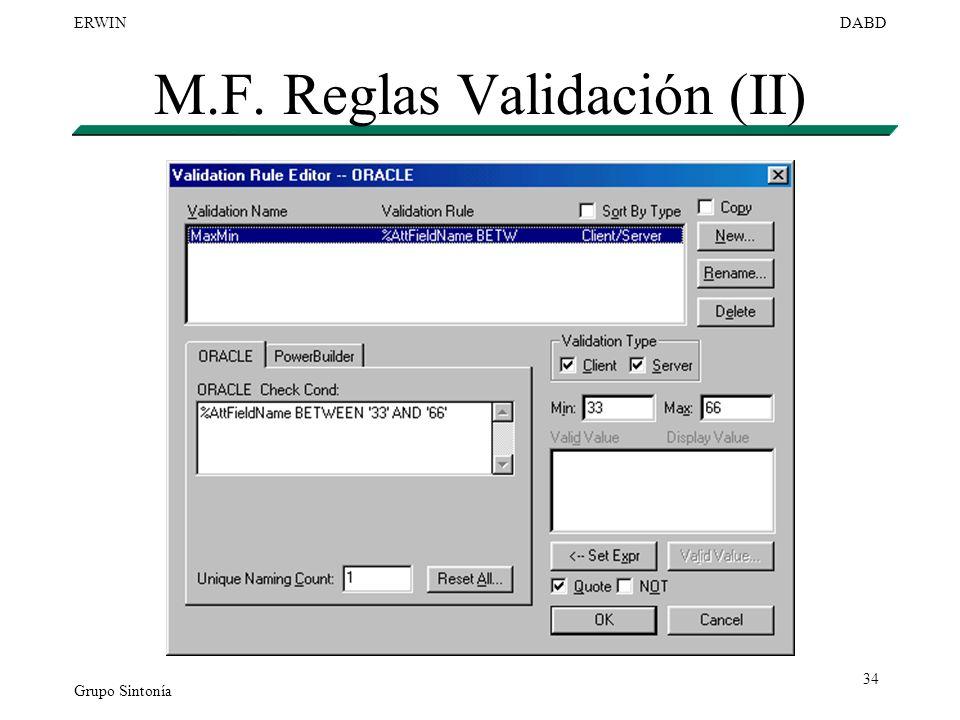 Grupo Sintonía ERWINDABD 34 M.F. Reglas Validación (II)