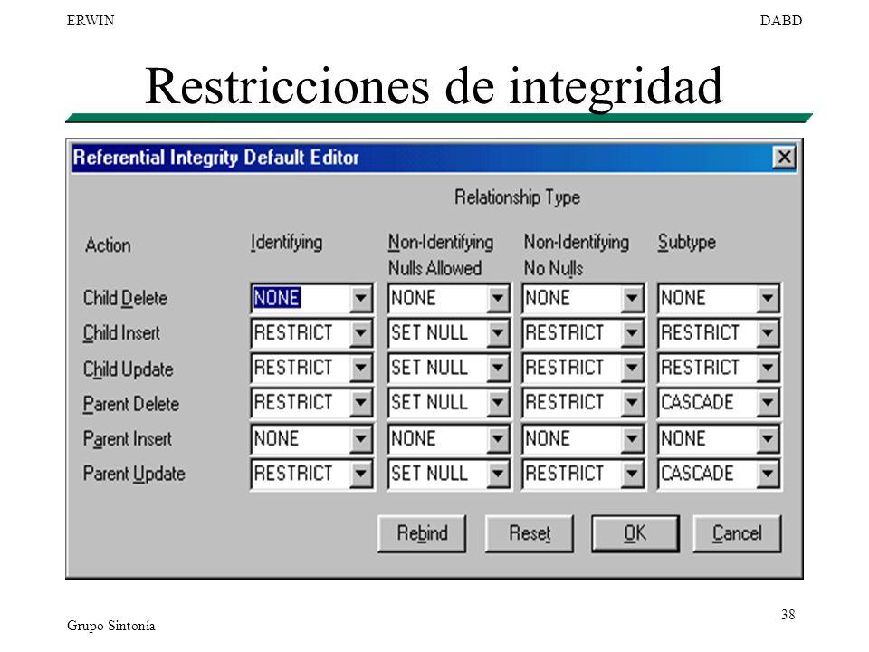 Grupo Sintonía ERWINDABD 38 Restricciones de integridad