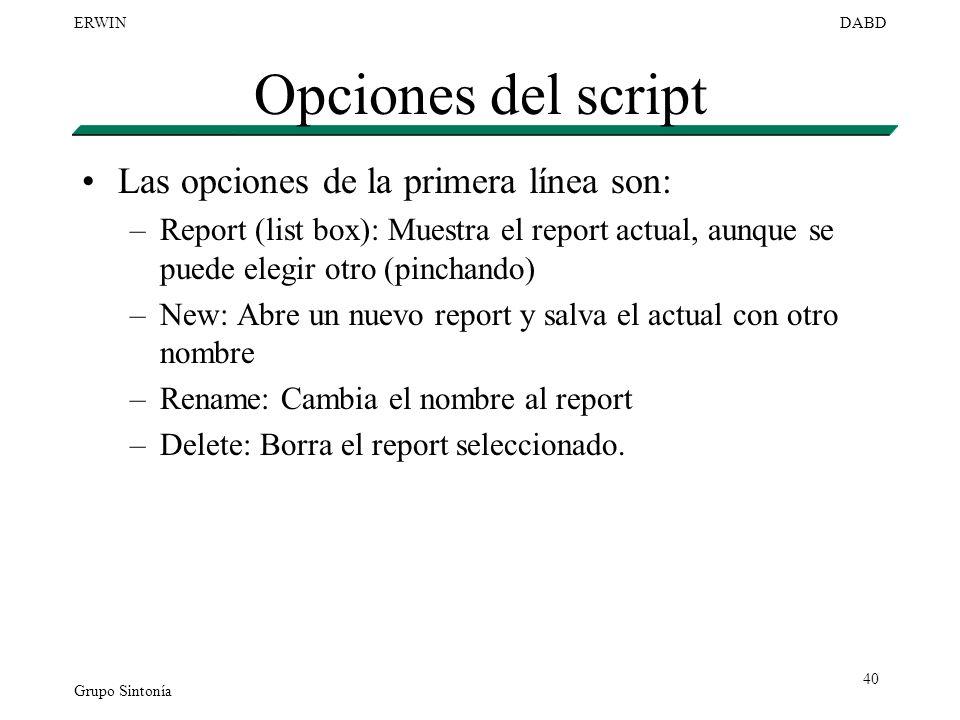 Grupo Sintonía ERWINDABD 40 Opciones del script Las opciones de la primera línea son: –Report (list box): Muestra el report actual, aunque se puede el