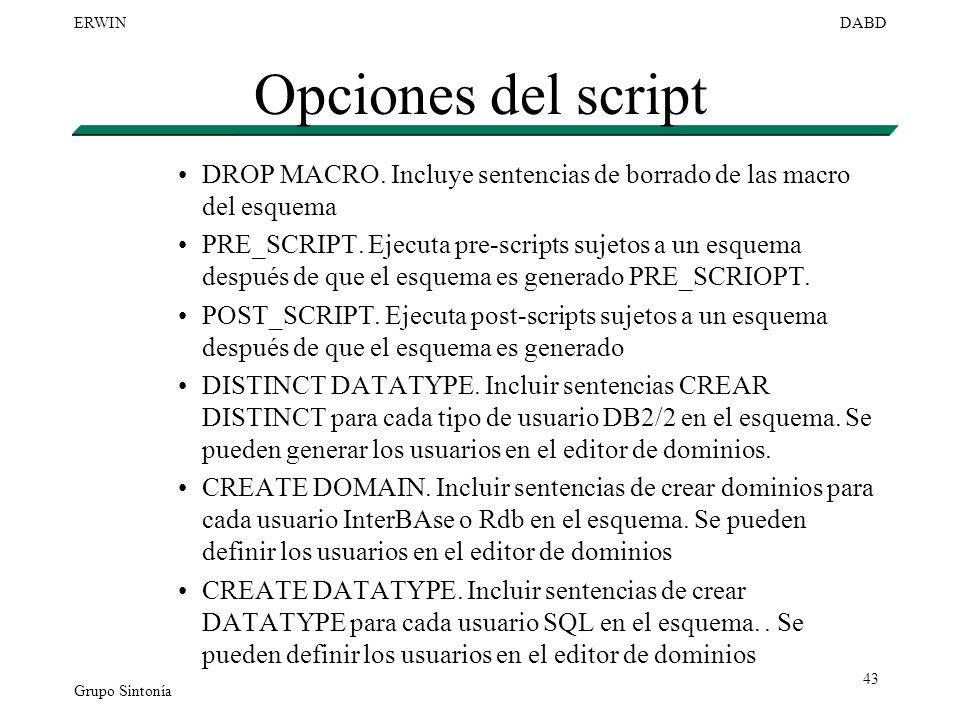 Grupo Sintonía ERWINDABD 43 Opciones del script DROP MACRO. Incluye sentencias de borrado de las macro del esquema PRE_SCRIPT. Ejecuta pre-scripts suj